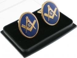 View Buying Options For The Mason Blue House Symbol Oval Mens Cufflinks