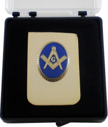 View Buying Options For The Mason Blue House Symbol Oval Medallion Money Clip
