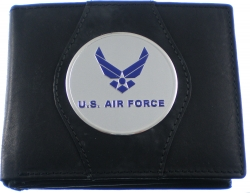 View Buying Options For The U.S. Air Force Wings Logo Round Metal Badge Mens Leather Wallet