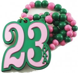 View Buying Options For The Alpha Kappa Alpha Line #23 Mirror Wood Color Bead Tiki Necklace