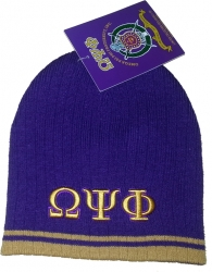 View Buying Options For The Omega Psi Phi Striped Mens Short Beanie Cap