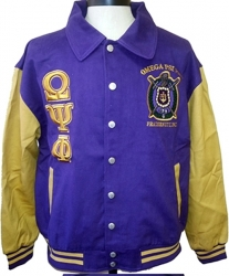 View Buying Options For The Omega Psi Phi 2-Tone Mens Letterman Twill Jacket