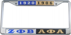 View Buying Options For The Zeta Phi Beta + Alpha Phi Alpha Split License Plate Frame