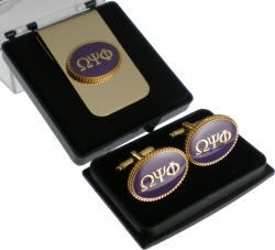 View Buying Options For The Omega Psi Phi Oval Medallion Cuff Links & Money Clip Set