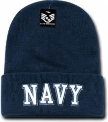 View Buying Options For The RapDom Navy Text Military Long Cuff Beanie Cap