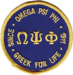 View Buying Options For The Omega Psi Phi Greek for Life Round Iron-On Patch
