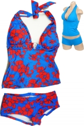 View Buying Options For The Flower Print Tankini 2-Piece Junior Womens Bikini w/Boyshorts