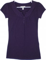 View Buying Options For The Active Basic Henley Style Top Cap Sleeve Junior Womens Tee