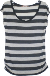 View Buying Options For The Horizontal Stripes Low Neckline Cap Sleeve Junior Womens Top
