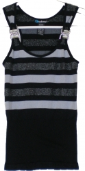 View Buying Options For The Striped Stretch-Fit Metal Rhinestone Detail Junior Womens Tank Top