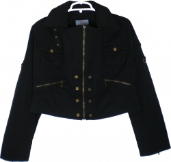 View Buying Options For The Brass Button & Zipper Detail Urban Junior Womens Twill Jacket