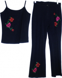View Buying Options For The M&S Collection Rose Flower Detail Halter Top Denim Jeans Junior Womens Set