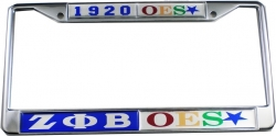 View Buying Options For The Zeta Phi Beta + Eastern Star Split License Plate Frame