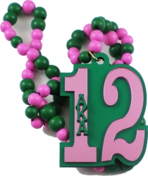 View Buying Options For The Alpha Kappa Alpha Line #12 Mirror Wood Color Bead Tiki Necklace
