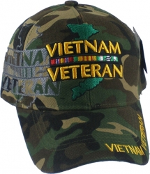 View Buying Options For The Vietnam Veteran Map Ribbon Shadow Mens Cap