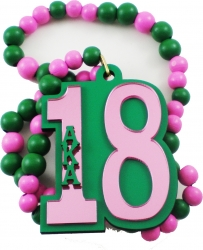 View Buying Options For The Alpha Kappa Alpha Line #18 Mirror Wood Color Bead Tiki Necklace