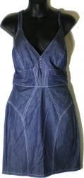 View Buying Options For The Mustard Seed Halter Top Stitched Denim Jean Junior Womens Dress
