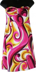 View Buying Options For The Topping Color Swirl Print Strapless Junior Womens Dress