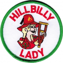 View Buying Options For The Shriner Crutch Hillbilly Lady Emblem Round Iron-On Patch