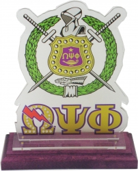 View Buying Options For The Omega Psi Phi Acrylic Desktop Piece with Color Wooden Base