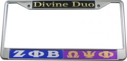 View Buying Options For The Zeta Phi Beta + Omega Psi Phi Divine Duo Split License Plate Frame