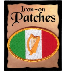 View Buying Options For The Irish Harp Flag Oval Iron-On Patch [Pre-Pack]