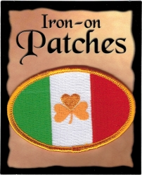 View Buying Options For The Irish Shamrock Flag Oval Iron-On Patch [Pre-Pack]