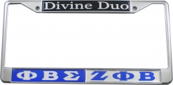 View Buying Options For The Phi Beta Sigma + Zeta Phi Beta Divine Duo Split License Plate Frame