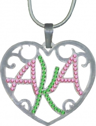 View Buying Options For The Alpha Kappa Alpha Ladies Crystal Filigree Heart Necklace