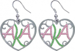 View Buying Options For The Alpha Kappa Alpha Ladies Crystal Filigree Heart Earrings