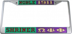 View Buying Options For The Shriner Noble + Omega Psi Phi Split License Plate Frame