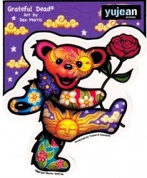 View Buying Options For The Grateful Dead Art Dancing Bear with Rose Color Sticker