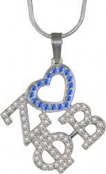 View Buying Options For The Zeta Phi Beta Ladies Crystal Heart Necklace
