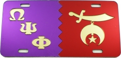 View Buying Options For The Omega Psi Phi + Shriner Split Mirror License Plate
