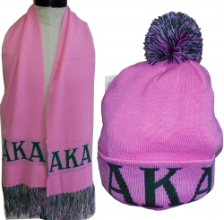 View Buying Options For The Alpha Kappa Alpha Knit Beanie Cap & Scarf Set