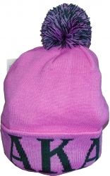 View Buying Options For The Alpha Kappa Alpha Knit Cuff Beanie Cap with Ball