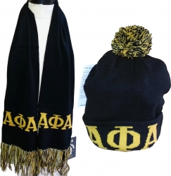View Buying Options For The Alpha Phi Alpha Knit Beanie Cap & Scarf Set