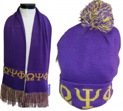 View Buying Options For The Omega Psi Phi Mens Knit Beanie Cap & Scarf Set
