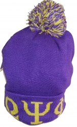 View Buying Options For The Omega Psi Phi Knit Cuff Mens Beanie Cap with Ball