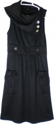 View Buying Options For The Button Detail Slouch Draped Collar Sleeveless Junior Womens Dress
