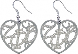 View Buying Options For The Zeta Phi Beta Ladies Crystal Filigree Heart Earrings