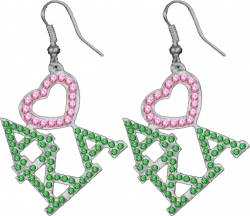 View Buying Options For The Alpha Kappa Alpha Ladies Crystal Heart Earrings