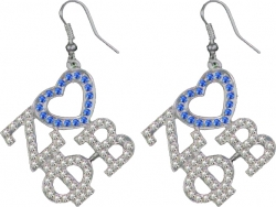 View Buying Options For The Zeta Phi Beta Ladies Crystal Heart Earrings