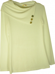 View Buying Options For The April Button Detail Slouch Draped Collar Junior Womens Fashion Top