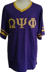 View Buying Options For The Omega Psi Phi Striped V-Neck Mens Tee