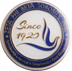 View Buying Options For The Zeta Phi Beta 3D Color Crest Round Lapel Pin