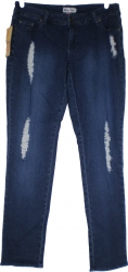 View Buying Options For The Golden Deer Womens Fleur-De-Lis Destructed Denim Jeans