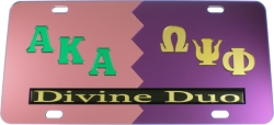 View Buying Options For The Alpha Kappa Alpha + Omega Psi Phi Divine Duo Split License Plate