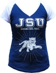 View Buying Options For The Jackson State Tigers Rhinestone Ladies Tee