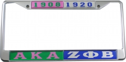 View Buying Options For The Alpha Kappa Alpha + Zeta Phi Beta Split License Plate Frame